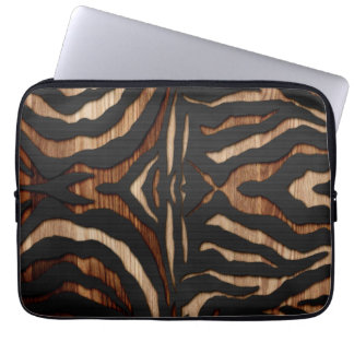Wood and Leather Zebra Print Computer Sleeve