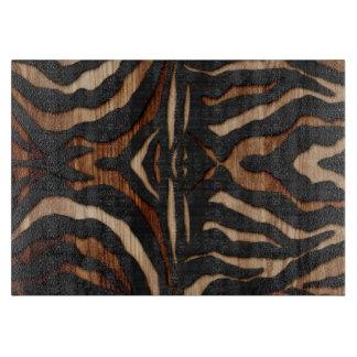 Wood and Leather Zebra Print Cutting Board