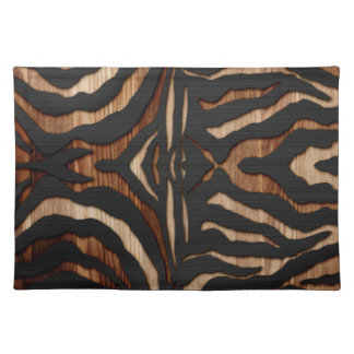 Wood and Leather Zebra Print Placemat