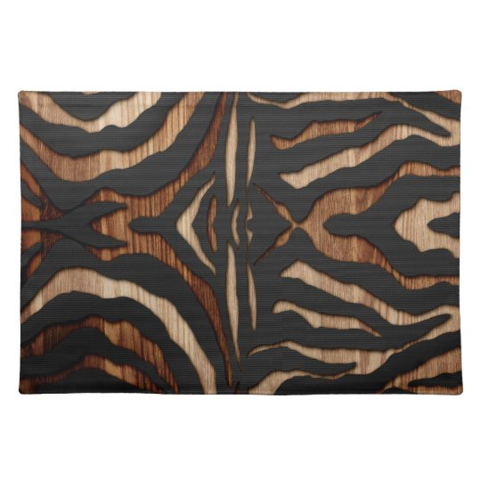 Wood and Leather Zebra Print Placemats