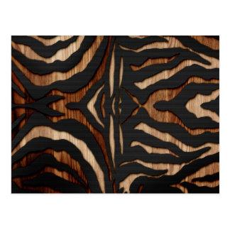 Wood and Leather Zebra Print Postcard