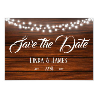 Wood and Lights Country Wedding Save the Date Card