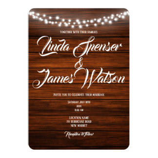 Wood and Lights Rustic  Country Wedding Invitation