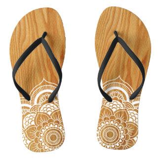 Wood and Mandala Flip Flops