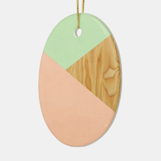 Wood and Pastel Abstract Ceramic Oval Decoration