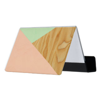 Wood and Pastel Abstract pattern Desk Business Card Holder