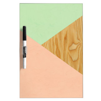 Wood and Pastel Abstract pattern Dry Erase Board