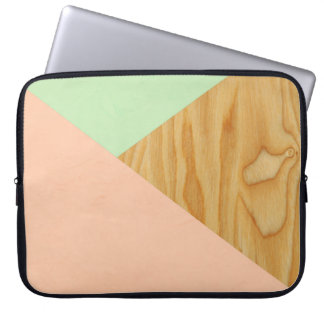 Wood and Pastel Abstract pattern Laptop Sleeve
