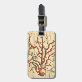 Wood and Small Coral Luggage Tag