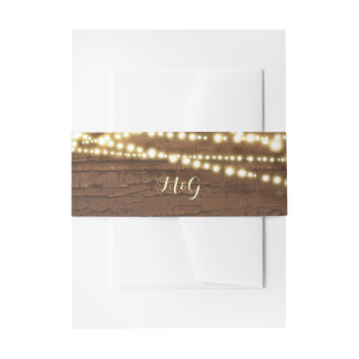 Wood and String Lights Wedding Invitation Belly Band