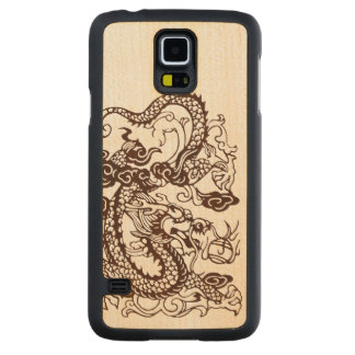 Wood Asian Chinese Imperial Dragon Carved Maple Galaxy S5 Case