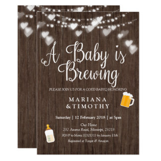 WOOD Baby is brewing BABY shower invitation