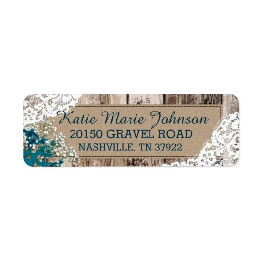 Wood Baby's Breath Lace Rustic Wedding Label