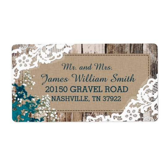 Wood Baby's Breath Lace Rustic Wedding Label Shipping Label