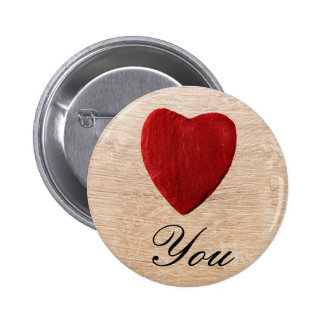 Wood background Love you 6 Cm Round Badge
