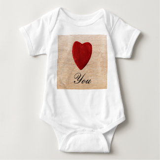 Wood background Love you Baby Bodysuit