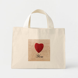 Wood background Love you Mini Tote Bag