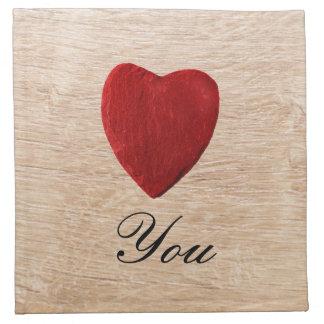 Wood background Love you Napkin