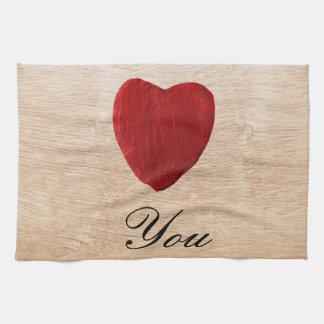 Wood background Love you Tea Towel