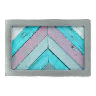 Wood background rectangular belt buckle