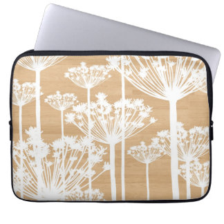 Wood background wish flowers girly floral pattern laptop computer sleeve