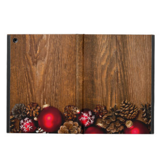 Wood background with Christmas ornaments iPad Air Cover