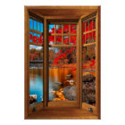 Wood Bay Window Autumn Scenery - Illusion Poster