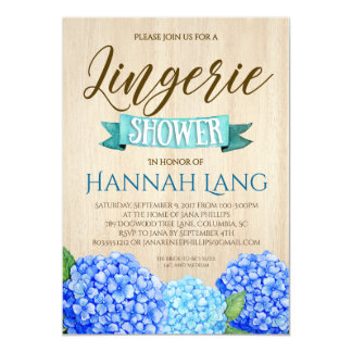 Wood & Blue Hydrangea Bridal Shower Invitation 5x7