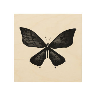 Wood board with butterfly wood print