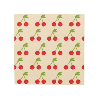 Wood board with cherries wood print