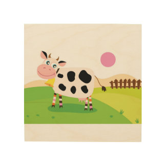 Wood board with Cow Wood Print