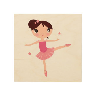 Wood board with little ballerina wood print