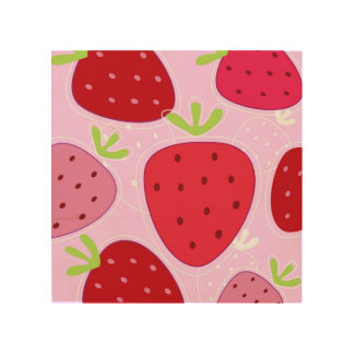 Wood board with RED STRAWBERRIES Wood Wall Art