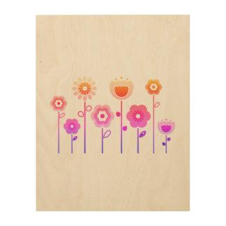 Wood board with stylish Flowers Wood Print