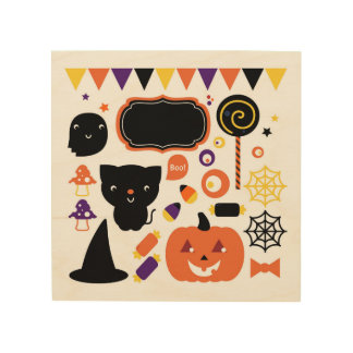Wood board with Stylish halloween creatures Wood Print