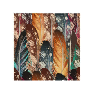 Wood board with vintage Feathers Wood Canvas