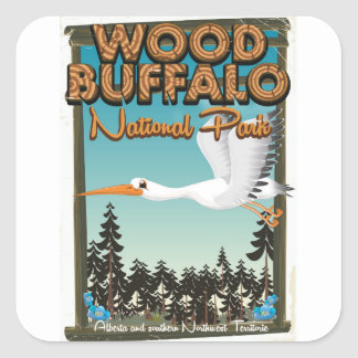 Wood Buffalo National Park travel poster Square Sticker