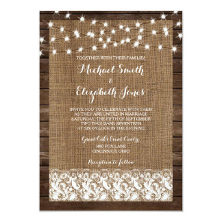 Wood Burlap Lace Lights Rustic Wedding Invitations