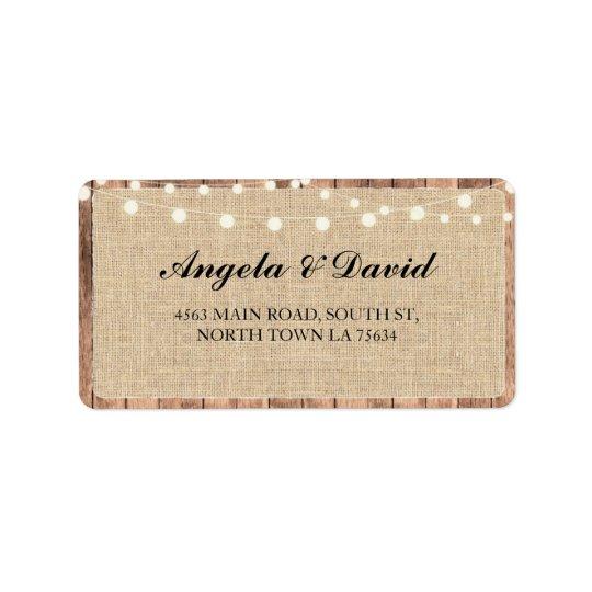 Wood Burlap Rustic Elegant Wedding Address Labels