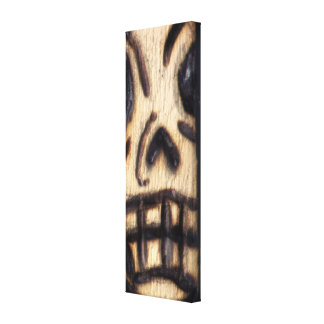 Wood Burned Skull Stretched Canvas Print
