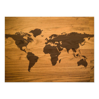 Wood Burned World Map 14 Cm X 19 Cm Invitation Card