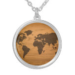Wood Burned World Map Pendant