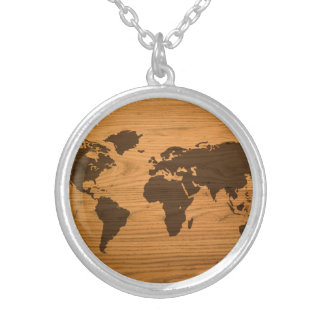 Wood Burned World Map Silver Plated Necklace