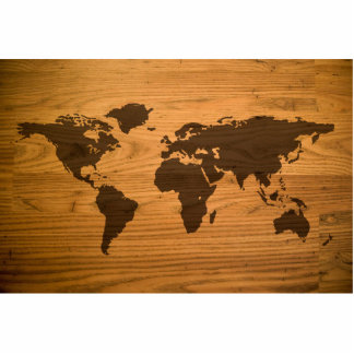 Wood Burned World Map Standing Photo Sculpture