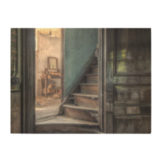 Wood canvas - Abandoned Place stairs draws to