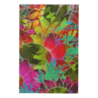 Wood Canvas Floral Abstract Artwork