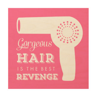 Wood Canvas Retro Hairdryer Print - pink