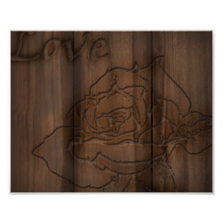 Wood Carved Rose Photo Print