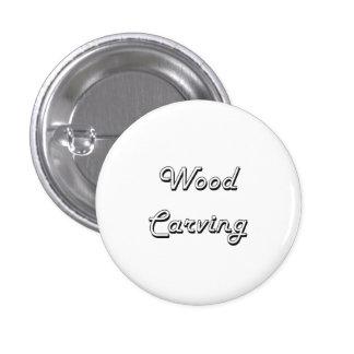 Wood Carving Classic Retro Design 3 Cm Round Badge