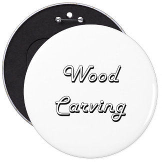 Wood Carving Classic Retro Design 6 Cm Round Badge
